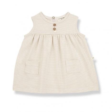 Vestido bolsillos CLARA de bebé en BEIGE