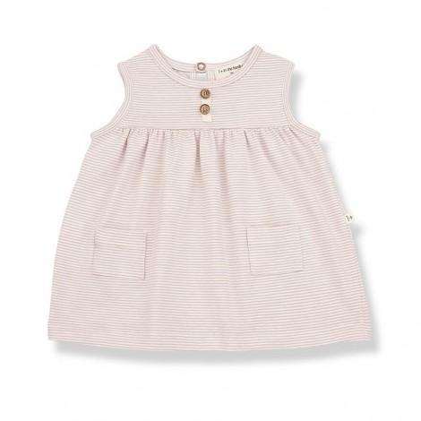 Vestido bolsillos CLARA de bebé en NUDE