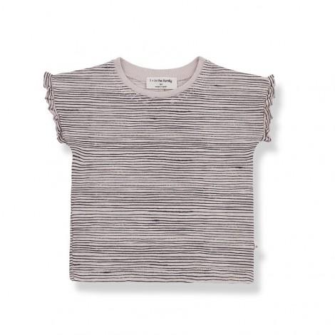 Camiseta femenina rallitas ISONA de bebé en ROSA
