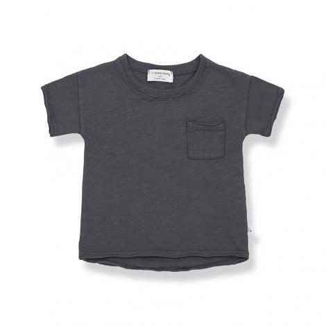Camiseta M/C bolsillo NANI de bebé en ANTRACITA