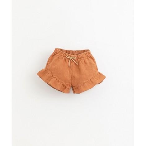 Pantalón corto bebé lino volantes en RAQUEL
