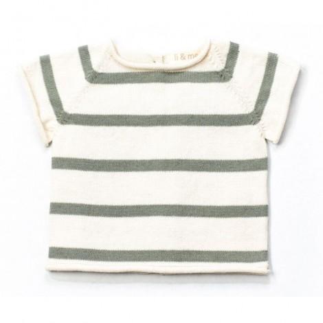 Jersey bebé tricot manga corta AIRON rayas MINT