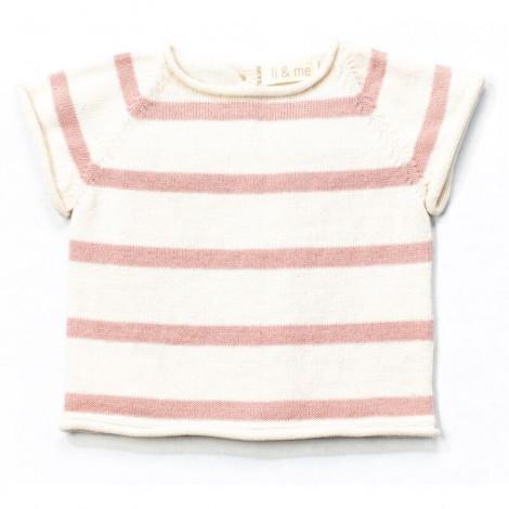 Jersey bebé tricot manga corta AIRON rayas ROSE