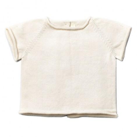 Jersey bebé tricot manga corta JAN en CREAM