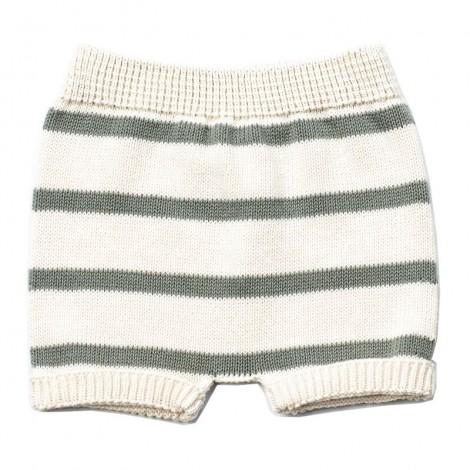 Pantalón corto bebé tricot TEO rayas MINT