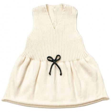 Vestido bebé EMILY CREAM lazo sin mangas