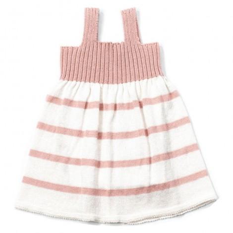 Vestido bebé NICOL rayas PALE ROSE y tirantes