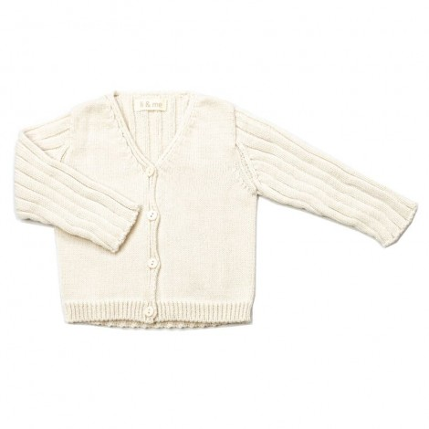 Chaqueta bebé NIL tricot canalé en CREAM