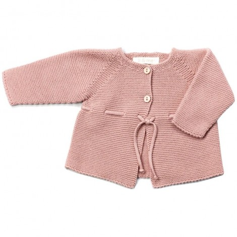 Chaqueta bebé VIOLETA tricot en PALE ROSE