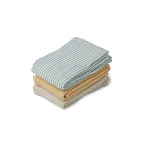 LINE Pack de 3 Muselinas Sea blue stripe mix