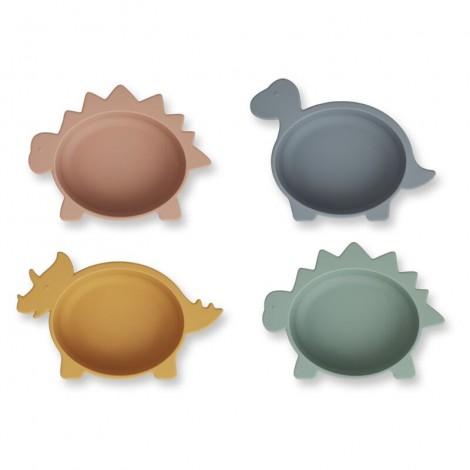 Bols de silicona Iggy - Pack de 4 Dino multi mix