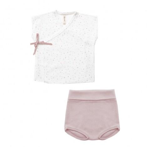 Conjunto bebé SMILE Ink Pinklace jubón y culotte