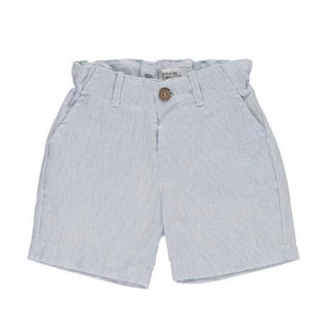 Pantalón corto niño bermuda vestir rayita azul