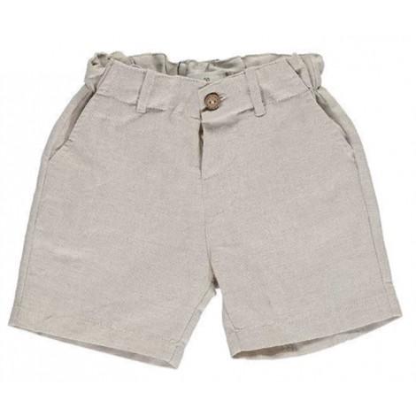Pantalón corto niño bermuda vestir rayita beige
