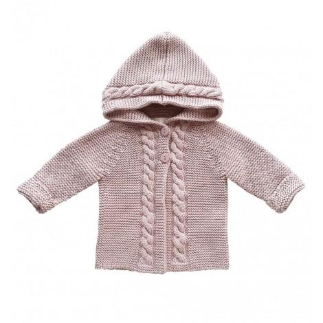 Chaqueta bebé KASEY PALE ROSE en tricot