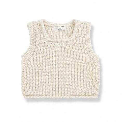 Chaleco tricot GABRIEL de bebé en CRUDO
