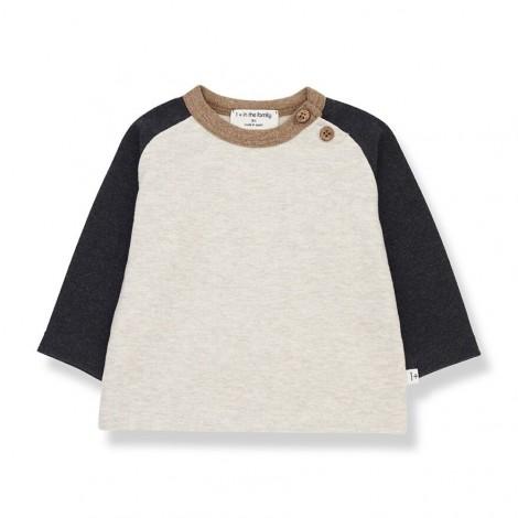 Camiseta manga contraste GUIM de bebé en CHARCOAL