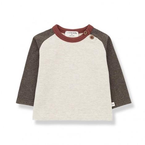 Camiseta manga a contraste GUIM de bebé en TIERRA