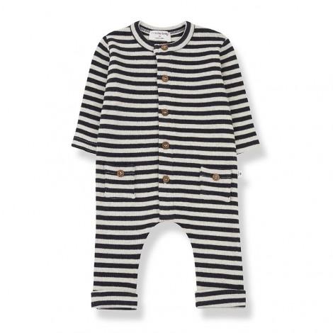 Pelele rayas bolsillos ROMAN de bebé en ALABASTRO