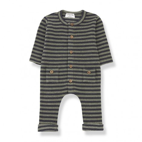 Pelele rayas bolsillos ROMAN de bebé en OLIVA