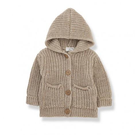Chaqueta tricot capucha UBALD de bebé en BEIGE