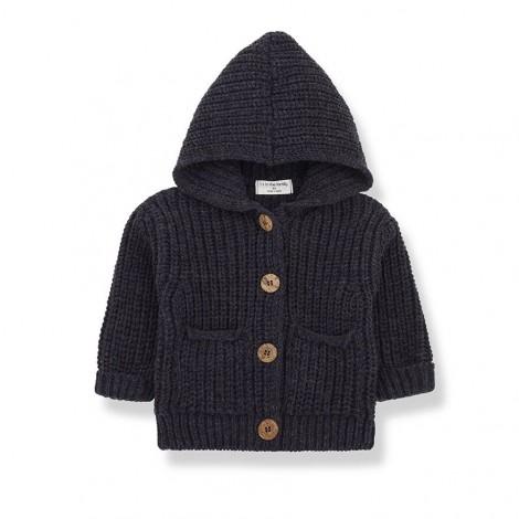 Chaqueta tricot capucha UBALD de bebé en CHARCOAL