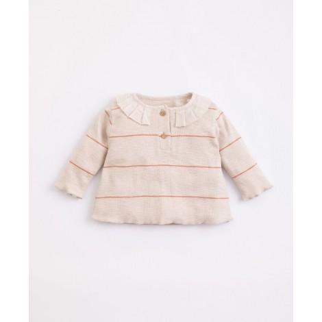 Camiseta bebé con cuello y Rayas  en MIRÓ