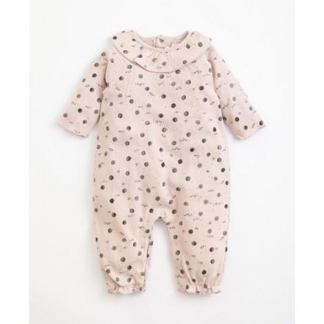 Pelele bebé estampado lunas en COR DE ROSA