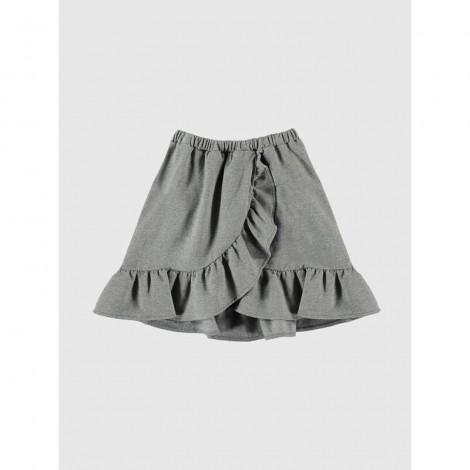 Falda volantes niña gris melange