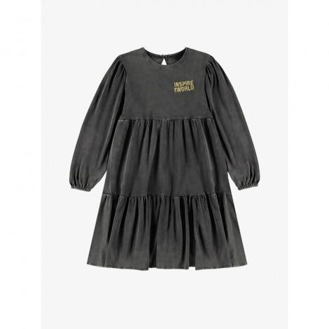 Vestido punto niña PANEL negro desgastado