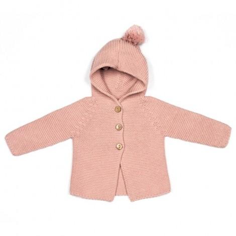 Abrigo bebé PETER tricot PALE ROSE capucha borla