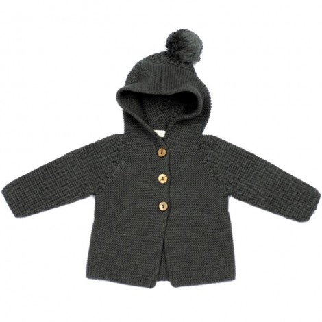 Abrigo bebé PETER tricot DARK GREY capucha borla
