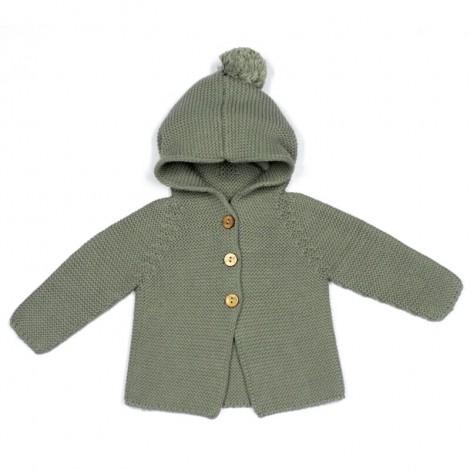 Abrigo bebé PETER tricot MINT capucha borla
