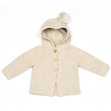Abrigo bebé PETER tricot STONE capucha borla